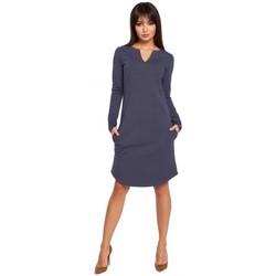 Textiel Dames Korte jurken Be B017 Klasyczna sukienka z rozcięciem na dekolcie - niebieska