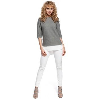 Textiel Dames Tops / Blousjes Moe M290 Dubbel gelaagde blouse - grijs