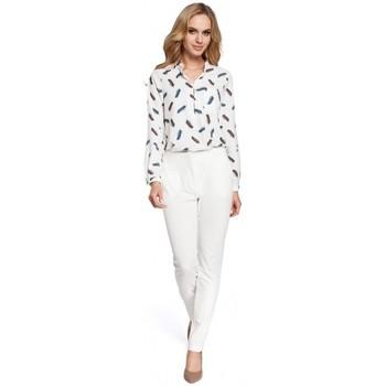 Textiel Dames Broeken / Pantalons Moe M303 Broek met rechte pijpen - ecru