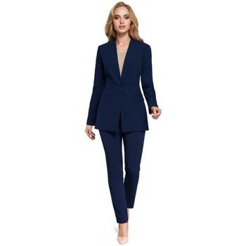 Textiel Dames Colberts Moe M304 Eenknoops jasje - marineblauw