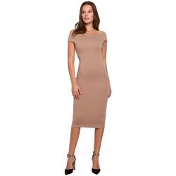 Textiel Dames Korte jurken Makover K001 Gebreide off shoulder jurk - beige