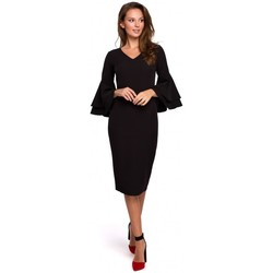 Textiel Dames Korte jurken Makover K002 Sheath jurk met ruche mouwen - zwart