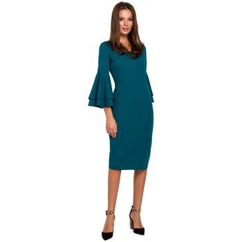 Textiel Dames Jurken Makover K002 Sheath jurk met ruche mouwen - oceaanblauw