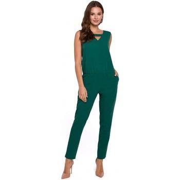 Textiel Dames Jumpsuites / Tuinbroeken Makover K009 Eendelige jumpsuit met v-hals - groen
