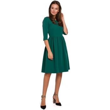 Textiel Dames Korte jurken Makover K010 Fit & flare jurk met gerimpelde taille - groen