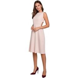 Textiel Dames Korte jurken Makover K011 Open rug uitlopende jurk - beige