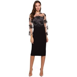 Textiel Dames Korte jurken Makover K013 Kokerjurk met guipure top - zwart
