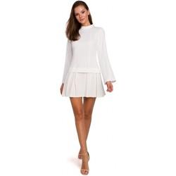 Textiel Dames Korte jurken Makover K021 Mini jurkje met geplooide onderzoom - ecru