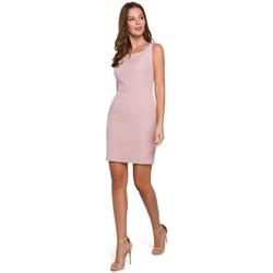 Textiel Dames Jurken Makover K022 Mini jurkje met vierkante halslijn - crêpe roze