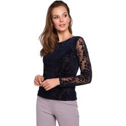Textiel Dames Tops / Blousjes Makover K024 Flock kanten blouse - marineblauw