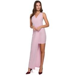 Textiel Dames Jurken Makover K026 Lange asymetrische jurk - lila