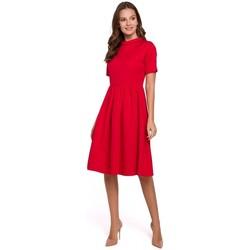 Textiel Dames Jurken Makover K028 Gebreide jurk met opgerolde hals - rood