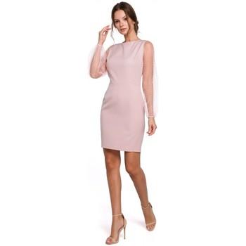 Textiel Dames Korte jurken Makover K032 mini jurk met tule mouwen - crêpe roze