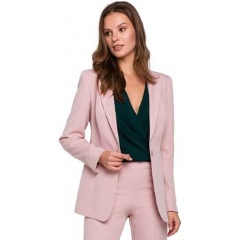 Textiel Dames Colberts Makover K036 Enkel kontje blazer - crêpe roze