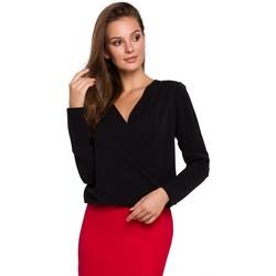 Textiel Dames Tops / Blousjes Makover K037 Wikkel blouse - zwart
