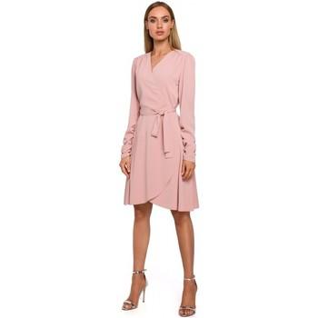 Textiel Dames Korte jurken Moe M487 Wikkeljurk met aangezette mouwen - poeder