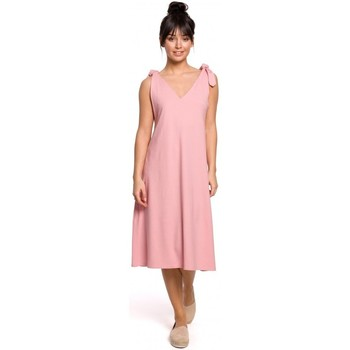 Textiel Dames Korte jurken Be B148 Trapezejurk met bindbandje - roze