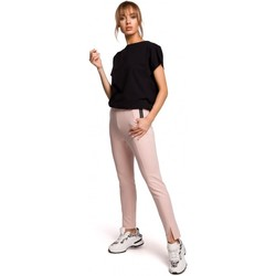 Textiel Dames Broeken / Pantalons Moe M493 Broek met gespleten pijpen - zuurstokroze