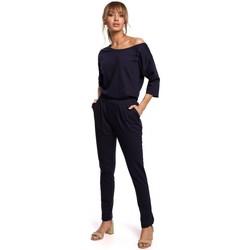 Textiel Dames Jumpsuites / Tuinbroeken Moe M497 Dolman mouw jumpsuit - marine blauw