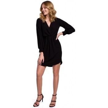 Textiel Dames Jurken Makover K044 Gedrapeerde shift jurk - zwart