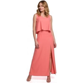 Textiel Dames Jurken Makover K048 Maxi jurk met ruche top - oranje