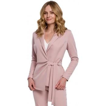 Textiel Dames Colberts Makover K056 Blazer met een strikceintuur - crêpe roze