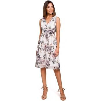 Textiel Dames Jurken Style S225 Chiffon jurk met plunjehals - model 1