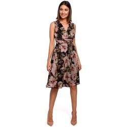Textiel Dames Jurken Style S225 Chiffon jurk met plunjehals - model 4