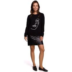 Textiel Dames Sweaters / Sweatshirts Be B167 Pullover top met print vooraan - zwart