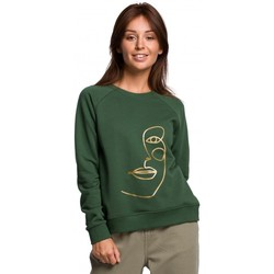 Textiel Dames Sweaters / Sweatshirts Be B167 Trui met opdruk vooraan - grasgroen
