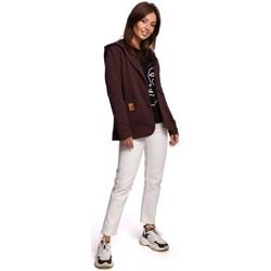 Textiel Dames Jasjes / Blazers Be B180 Blazer met kap in gebreid katoen - bruin