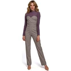 Textiel Dames Jumpsuites / Tuinbroeken Makover K073 Gingham jumpsuit met strapless top - bruin