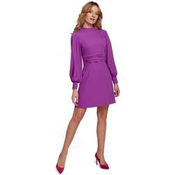 Textiel Dames Korte jurken Makover K077 Jurk met flamenco volant - lavendel