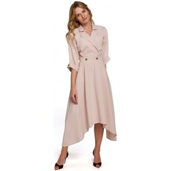 Textiel Dames Lange jurken Makover K086 Midi-lengte jurk met sierknopen - zwart