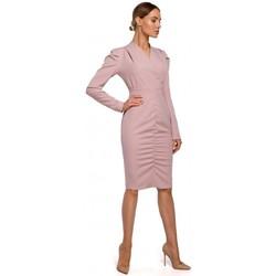 Textiel Dames Korte jurken Moe M547 Gebloemde jurk met geplooide voorkant - poeder