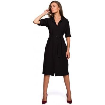 Textiel Dames Lange jurken Style S230 Midi overhemdjurk met opgezette zakken - zwart