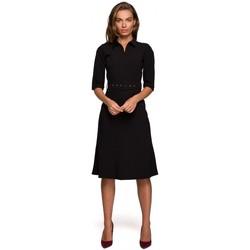 Textiel Dames Korte jurken Style S231 Kraag dres met een gesp riem - zwart