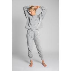 Textiel Dames Trainingsbroeken Lalupa LA004 Gebreide fluffy joggers - lichtgrijs