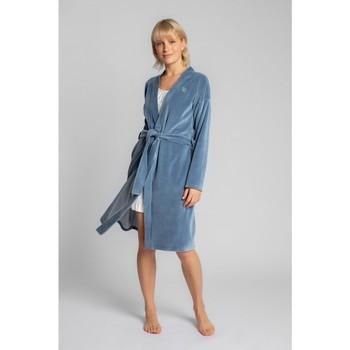 Textiel Dames Pyjama's / nachthemden Lalupa LA009 Fluwelen badjas met een strikceintuur - blauw