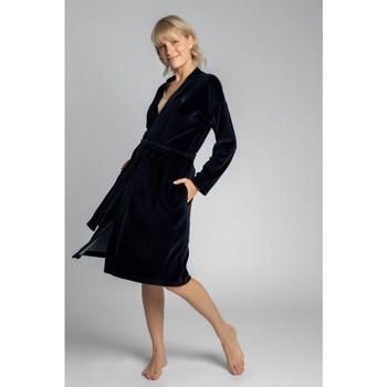 Textiel Dames Pyjama's / nachthemden Lalupa LA009 Fluwelen badjas met een strikceintuur - marineblauw