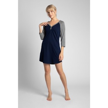 Textiel Dames Pyjama's / nachthemden Lalupa LA018 Katoenen Colourblock Sleepshirt - ecru