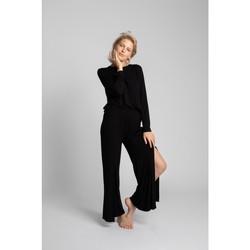 Textiel Dames Losse broeken / Harembroeken Lalupa LA026 Viscose Broek Met Hoge Splitten - zwart