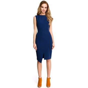 Textiel Dames Korte jurken Style S105 Faux-wrap mouwloze jurk - marineblauw