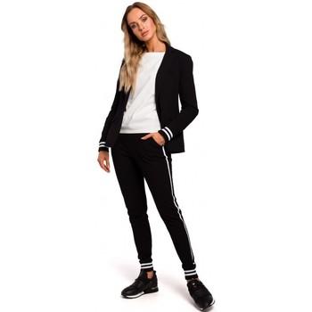 Textiel Dames Colberts Moe M459 Blazer met gestreepte geribde manchetten - zwart