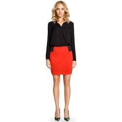 Textiel Dames Rokken Moe M042 Effen minirok met elastiek in de taille - rood