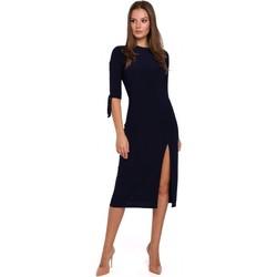 Textiel Dames Korte jurken Makover K007 Gebreide jurk met aangeknoopte mouwen - marineblauw