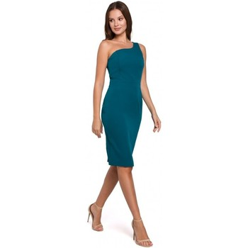 Textiel Dames Korte jurken Makover K003 Sheath jurk met een één schouder halslijn - oceaanblauw