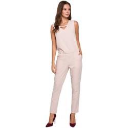 Textiel Dames Jumpsuites / Tuinbroeken Makover K009 Eendelige jumpsuit met v-hals - beige