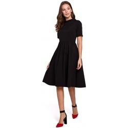 Textiel Dames Korte jurken Makover K028 Gebreide jurk met opgerolde hals - zwart