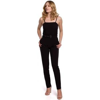 Textiel Dames Jumpsuites / Tuinbroeken Makover K051 Spaghettiband jumpsuit - zwart